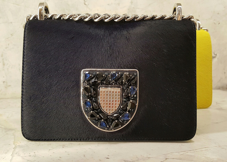 Pony Hair and Blue Pears in a shield shape clasp
