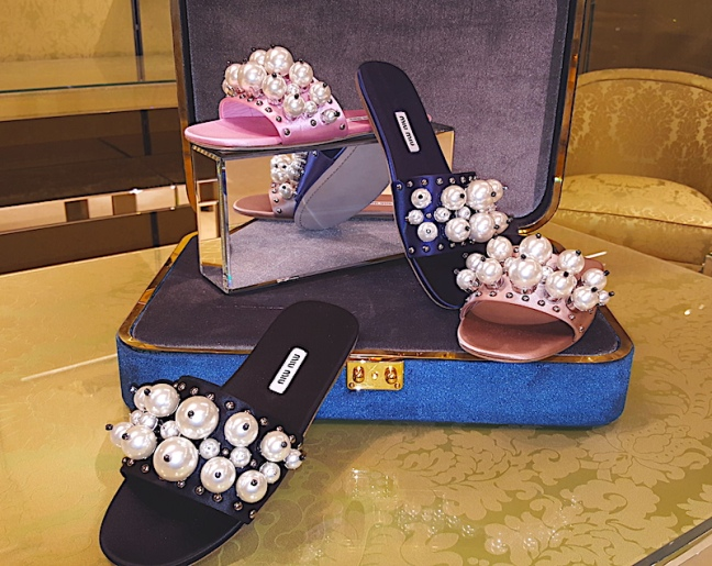 The consummate luxe slip on mule: Pearl encrusted slides from MIU MIU. Don't forget your toes!