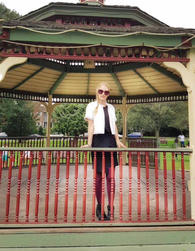 Chic woman in a gazebo