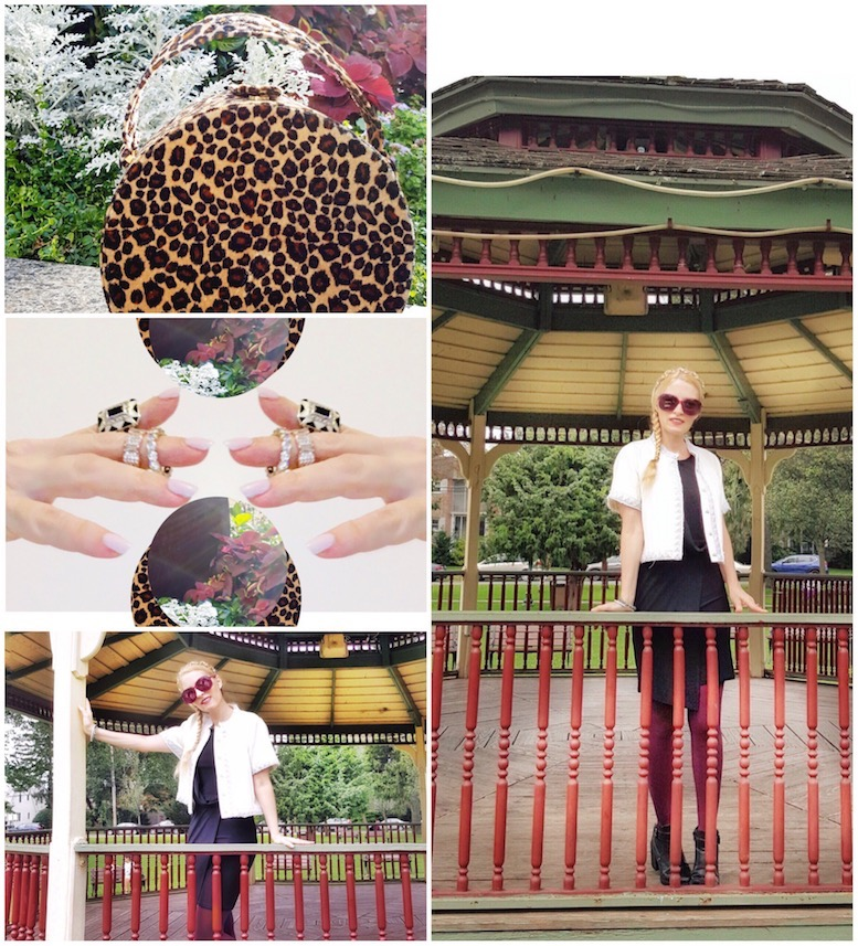 Blogger wears burgundy tights